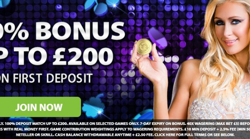 100% bonus upto £200 and girl with gold coin