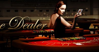 Live dealer and a girl with blackjack table