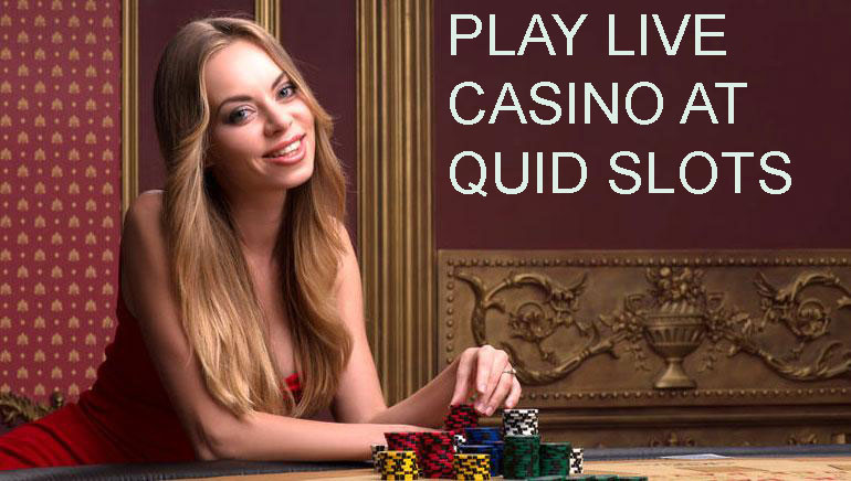 a girl sit with casino coins and play live casino at quid slots